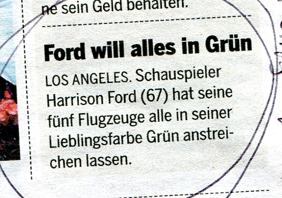 20 Minuten meldet: Ford will alles in Grün