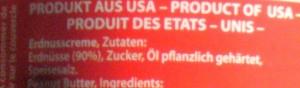 Detail des Erdnussbutteretiketts: Öl pflanzlich gehaertet