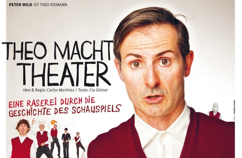 Theo macht Theater. Flyer zu Peter Wilds Bünhenprogramm.
